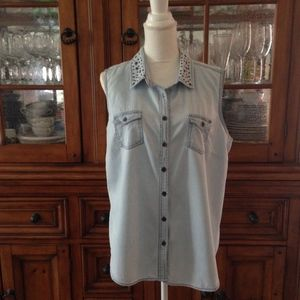 Cato chambray shirt with studded collar